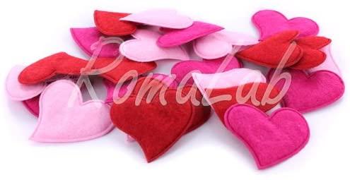 24 CUORI fuxia rosa e rossi 4CM in feltro DECORAZIONE abbellimenti applicazioni B00GTKUBSG
