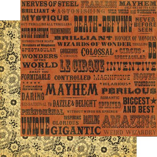 1 FOGLIO DI CARTA Magnifique Le Cirque Collection SCRAPBOOKING 30 cm il cir 302002286033