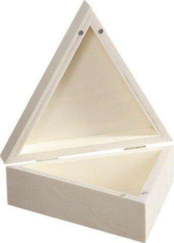 1 SCATOLA TRIANGOLARE in legno CHIUSURA MAGNETICA per decoupage 14 x 14 x 5 cm 292518373323