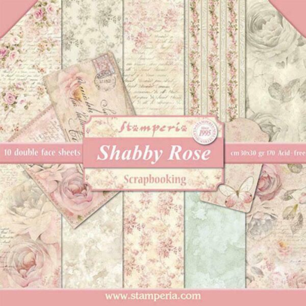 10 fogli 305 x 305 cm Double Face Shabby Rose BLOCCO CARTA PER SCRAPBOOKING 303056736843