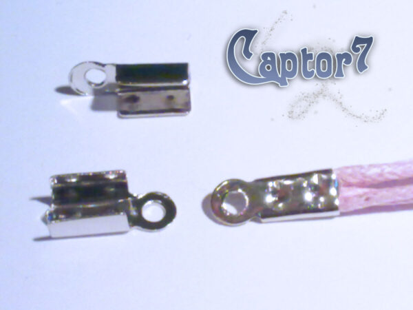 100 CAPICORDA argentati COLOR ARGENTO SCURO x CORDINI 11 x 4 mm CORDA TERMINALI 291808432043