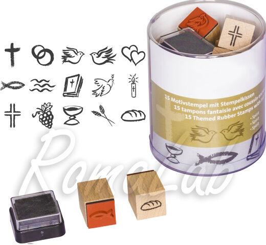15 TIMBRI IN legno STAMP simboli religiosi comunione croce SET x SCRAPBOOKING 302002181863