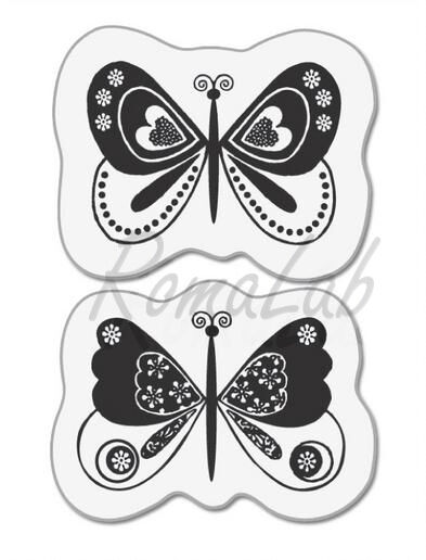 2 TIMBRI ACRILICI TRASPARENTI FARFALLE SET SCRAPBOOKING BUTTERFLY CLEAR STAMPS 301988596963