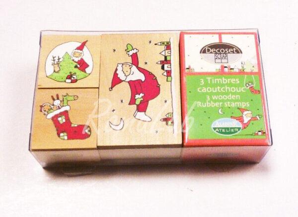 3 TIMBRI con base in legno Aladine Natale Christmas STAMP SET per SCRAPBOOKING 291812387783