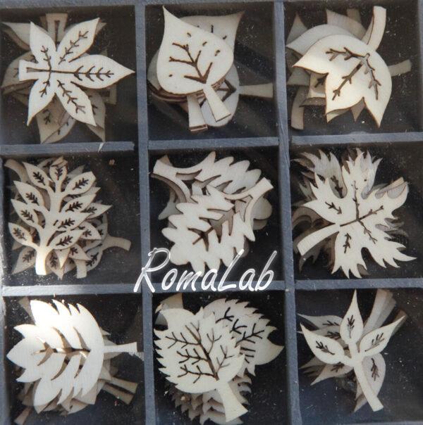 45 DECORAZIONI IN LEGNO 18 3CM ORNAMENTI SCRAPBOOKING foglie piante applicaz 302002173783