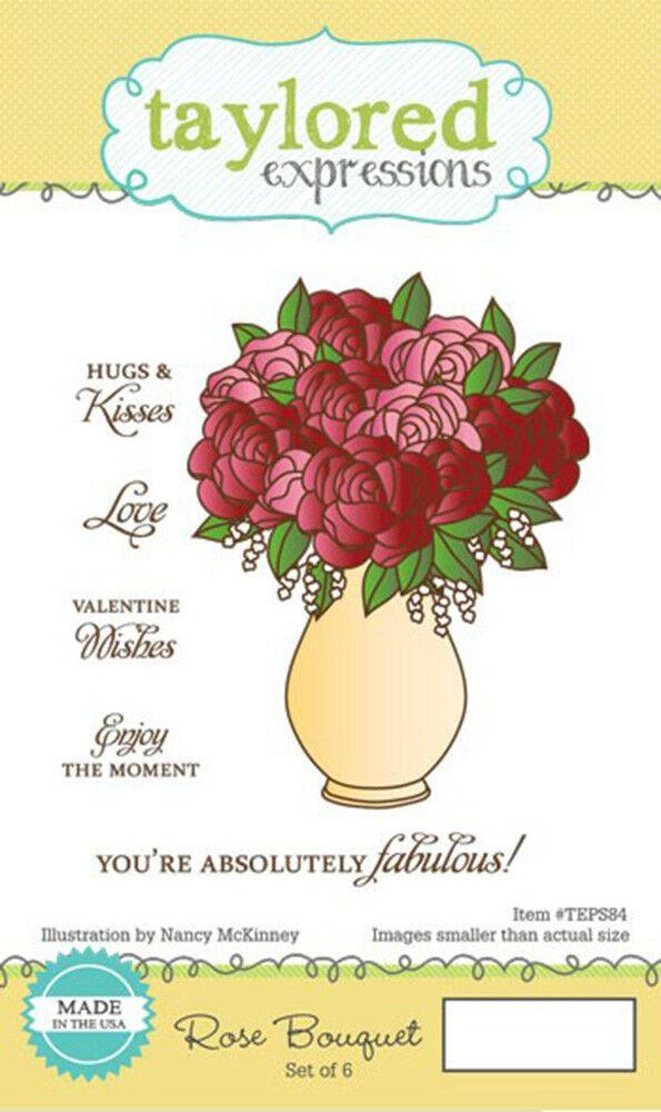 6 TIMBRi in gomma cling STAMP bouquet di rose e scritte SET SCRAPBOOKING 302875018353