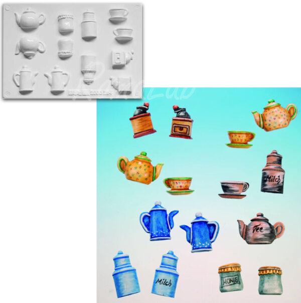 STAMPO con 6 FORMINE 3D tema teiera ora del te macinacaffe Tea Time tazza latte 291808306593