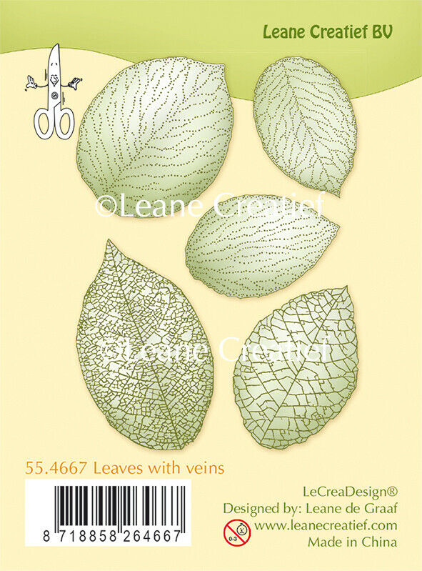 Set 5 TIMBRI FOGLIE con venature clear stamp timbro FOGLIA scrapbooking Leaves 303126506853
