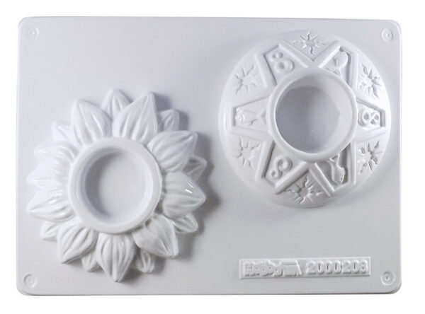 Stampo con 2 FORME PORTACANDELA FORMINE MOLDS fiore simboli per gesso ceramico 291801086393