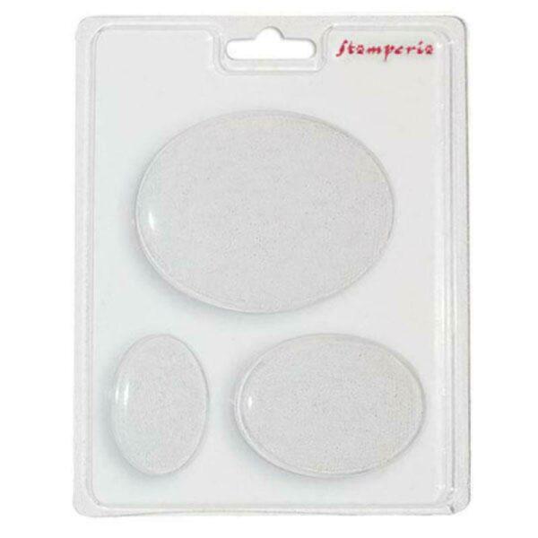 Stampo in plastica con 3 forme ovali per sapone gesso decorazioni Plastic Mould 303058179913