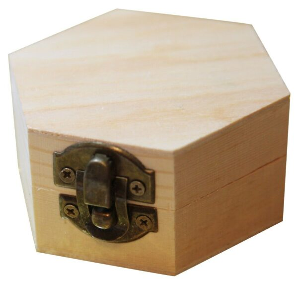 1 CONTENITORE scatolina esagonale in LEGNO da rifinire decoupage 68 x 8 x 3 293724786164