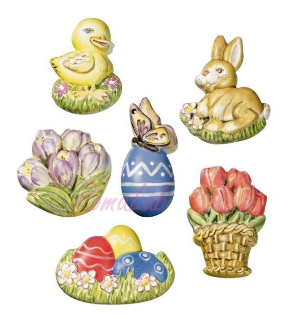 1 STAMPO CON 6 FORME Pasqua uovo coniglietto fiori FORMINE MOLDS DECORAZIONI 302002257874