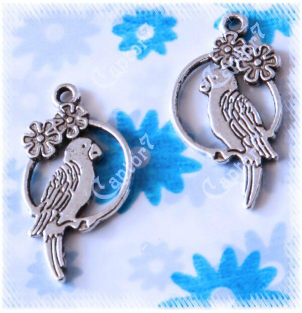 10 CHARMS pappagalli CHARM CIONDOLI ARGENTO TIBETANO PENDENTI 302436986764