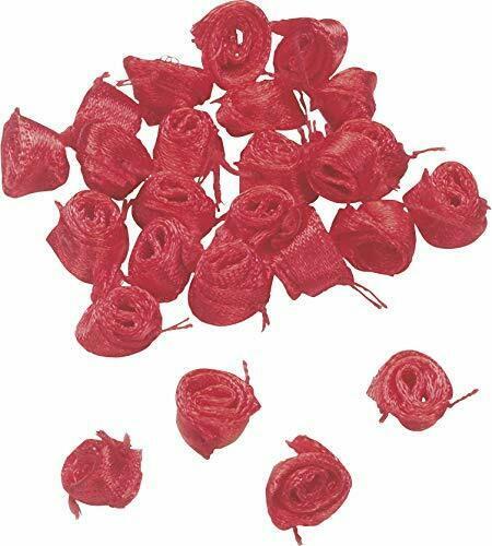 10 grammi di mini rose rosse in raso fiori 8 mm DECORAZIONI abbellimenti bocc 303081706674