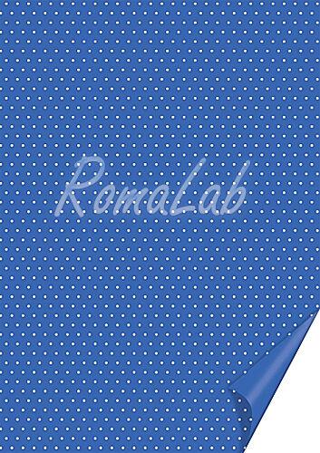 2 FOGLI in cartoncino color blu A4 stampato a pois bianchi x SCRAPBOOKING 301982440534