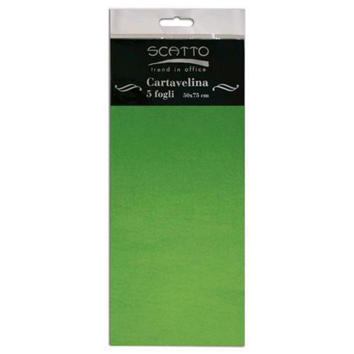 5 FOGLI di CARTA VELINA SCATTO 50X75 CM 17 GR colore verde scuro fioristi 292211592104