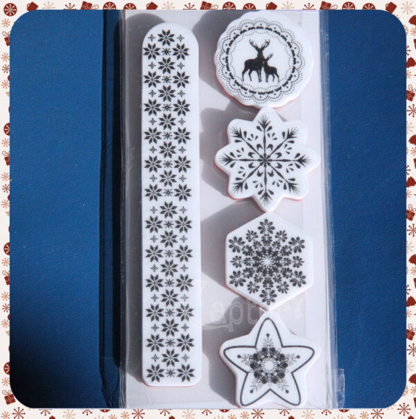 5 TIMBRI IN GOMMA STILE NATALE SCANDINAVO VINTAGE STAMP SET SCRAPBOOKING bordo 291787746834