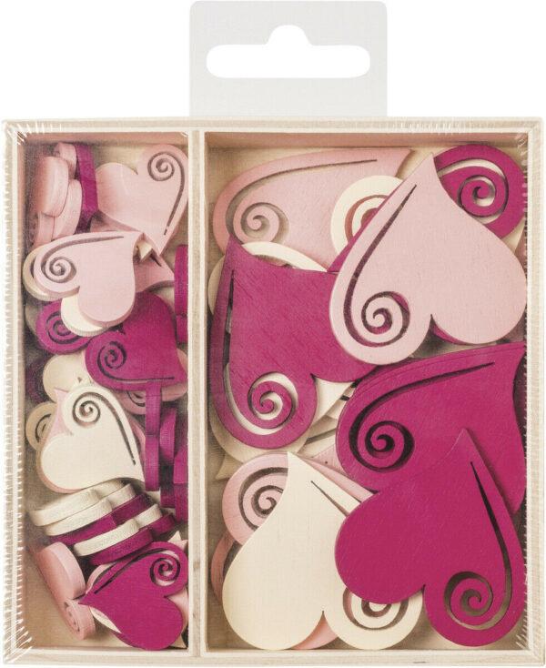 54 DECORAZIONI IN LEGNO colorate cuori romantici ORNAMENTI x SCRAPBOOKING cuore 293816024844