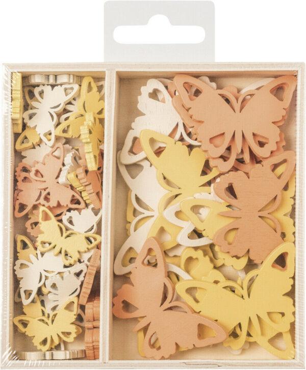 54 DECORAZIONI IN LEGNO colorate farfalle ORNAMENTI x SCRAPBOOKING farfalla 293815928004