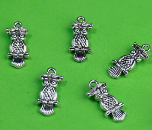 6 CHARMS GUFI in argento tibetano CHARM GUFO CIVETTE 2 CM CIONDOLO PENDENTE MAXI 293723548004