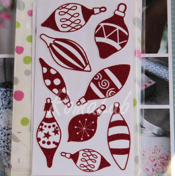 Adesivi sticker DECORAZIONI palline natalizie GLITTER ALBERO NATALE SCRAPBOOKING 302005596134