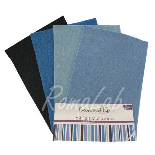 Confezione 8 fogli di feltro A4 in mix Dovecraft multipack toni blu 302357552504