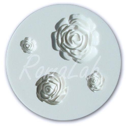 MINI STAMPO IN SILICONE FLESSIBILE 4 FORMINE di ROSE ROSELLINE USO ALIMENTARE 302688320264
