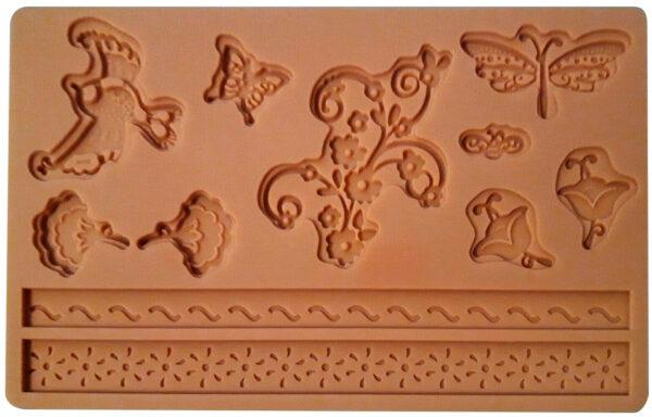 STAMPO IN SILICONE motivi floreali farfalle libellule torte FORMINE CAKE DESI 303702673474