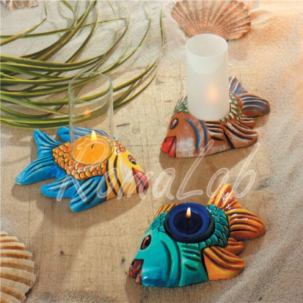 Stampo con 2 FORME PORTACANDELA FORMINE MOLDS pesce pesci per gesso ceramico 291816441854
