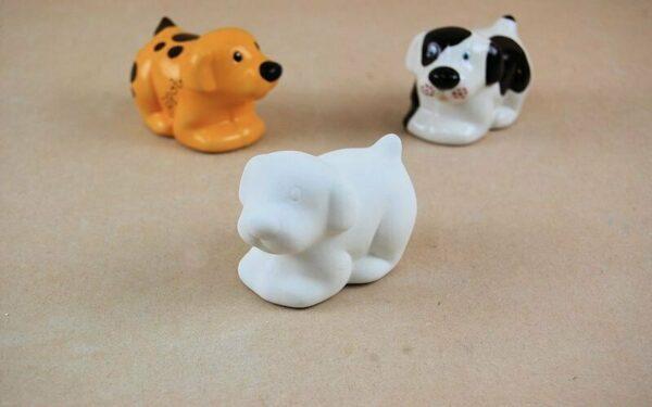 Statuina in ceramica biscotto bianco cane da dipingere decorare puppy dog cuc 293576122144