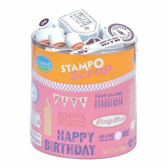 TIMBRI IN GOMMA STAMP Birthday compleanno anniversaire SET X SCRAPBOOKING 303672355494