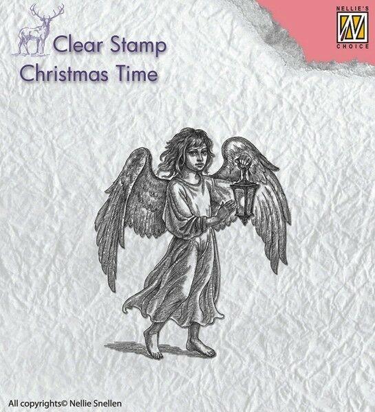 TIMBRO ACRILICO TRASPARENTE angelo con lanterna per Natale scrapbooking 302976640584