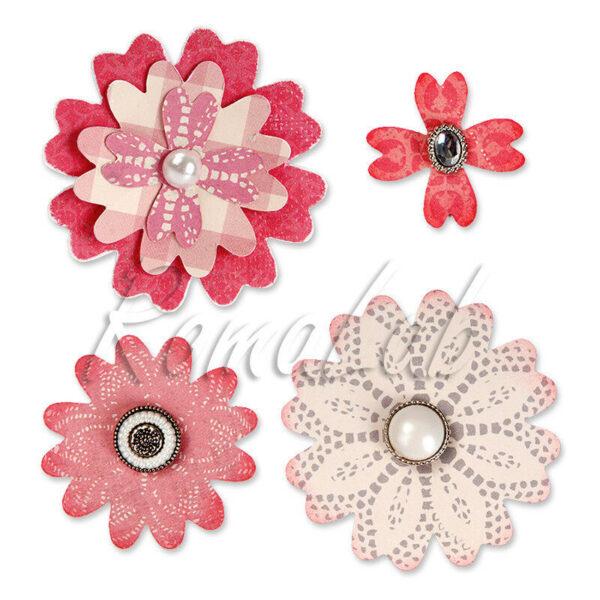 1 FUSTELLA PER BIG SHOT SIZZIX fiori per la Big Shot BIGZ DIE Flower Layers 292507800245