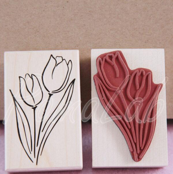 1 TIMBRO con BASE in LEGNO STAMP fiore tulipano TIMBRI per SCRAPBOOKING 302002243385