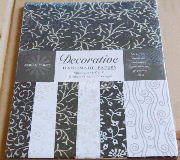 18 FOGLI di carta stampata 27x21 card making SCRAPBOOKING colori nero e bianco 291808412615