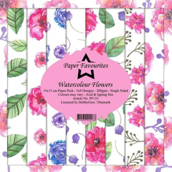 24 FOGLI STAMPATI 15x15 cm a tema fiori Watercolour Flowers SCRAPBOOKING Paper 293721521035
