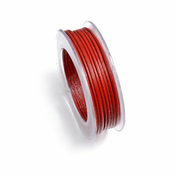 5 MT FILO pelle rossa 1 mm diametro cuoio laccio rosso Leather Laces red lacc 303081813345