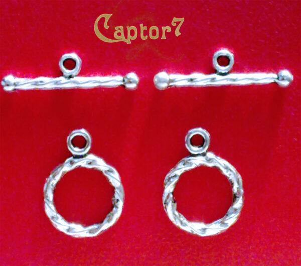 7 CHIUSURE A T A TORCIGLIONE color argento collane bracciali 11 mm T Bar OFFERTA 292511128915