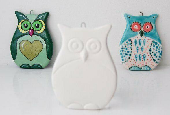 Gufo piatto in ceramica biscotto gufetto Flat Owl Hanging Decoration gufetto 293575866745