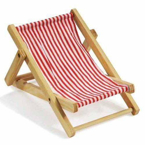 Mini sdraio legno stoffa righe bianche e rosse miniatura 10 CM dolls casa bam 302513518965