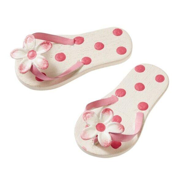 Paio di mini Flip Flops 45 cm rosa con pois miniatura Infradito ciabatte san 303746233355