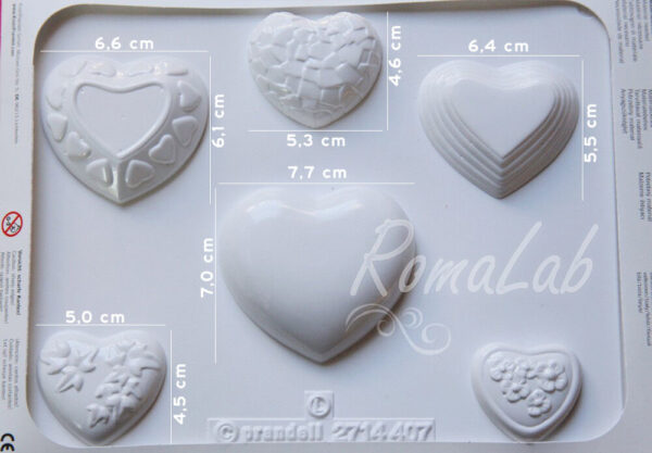 STAMPO 3D 6 CUORI AMORE KNORR PRANDELL FORMINE MOLDS MATRIMONIO GESSI PROFUMATI 302002273425