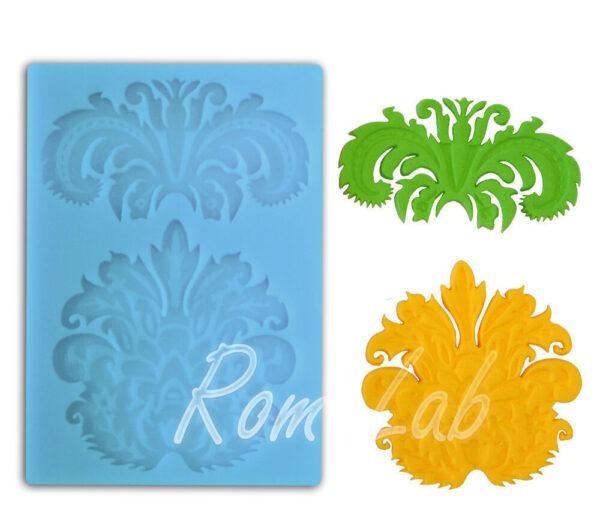 STAMPO IN SILICONE FORMINE motivo floreale arabeschi gessi o cioccolato azzurro 302052948325