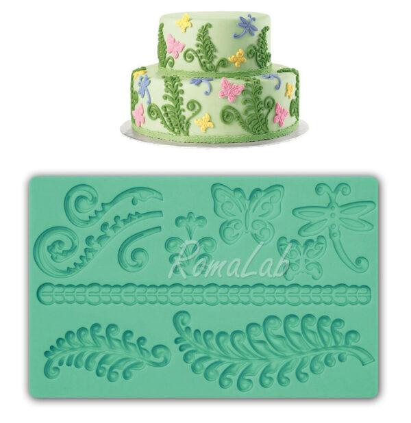 STAMPO IN SILICONE felci e farfalle FORMINE STAMPINO MOLD mould CAKE DESIGN 291801100345