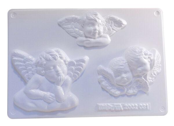 STAMPO con 3 FORMINE a forma di angeli angioletti putti x colate gesso ceramico 302104187305