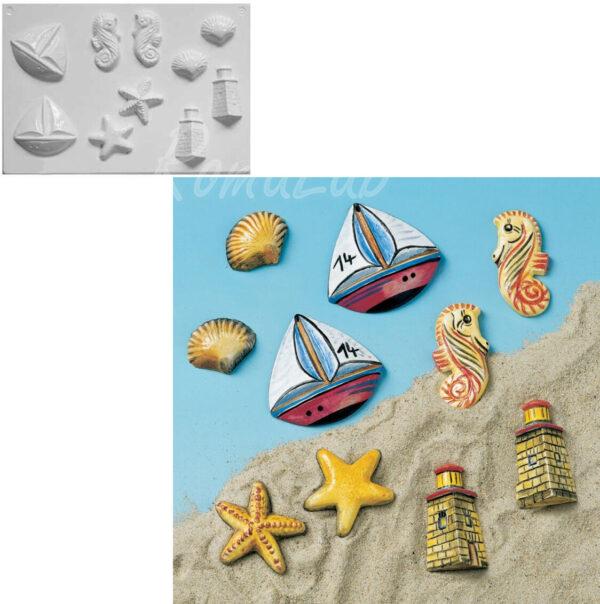 STAMPO con 5 FORMINE 3D a tema marinaro barca faro stella marina cavalluccio 291808307035