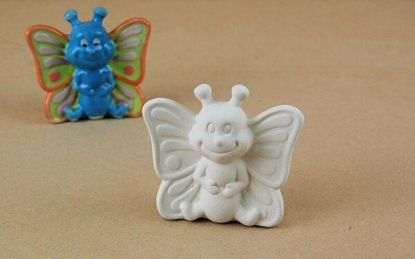 Statuina in ceramica biscotto bianco farfalla da dipingere decorare bisque Bu 303564312415