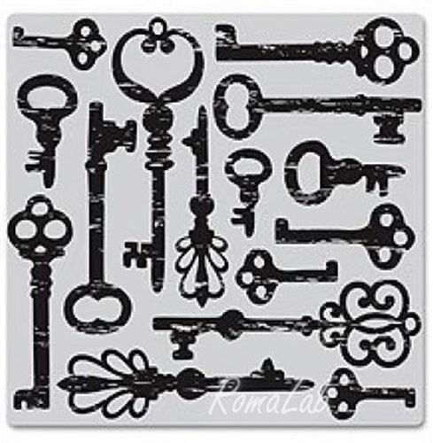 TIMBRO HERO ARTS in gomma SFONDO MOTIVO chiavi antiche SCRAPBOOKING cling stamp 291801112615