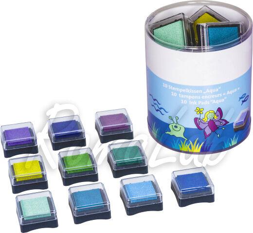 10 TAMPONI CUSCINETTI INCHIOSTRATI MIX COLORI acqua SET SCRAPBOOKING Ink Pad 302039390816