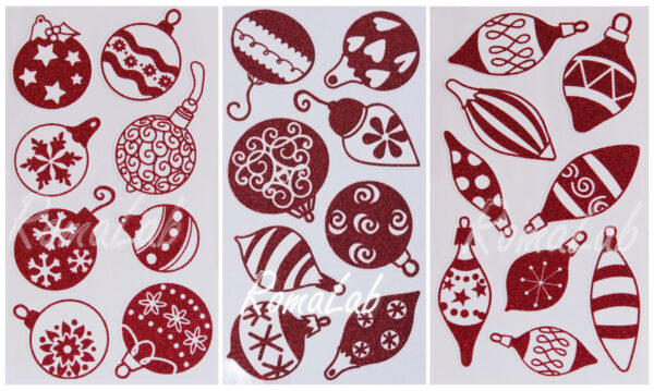3 fogli adesivi stickers DECORAZIONI PALLE Sfere GLITTER Natale foamy glitter 292426548216